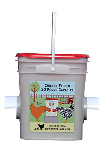 Chicken Feeder - Holds 20 Pounds of Pellets, Crumbles or Grain in Bucket - New Invention for 21st Century Chicken Owners (2 Feed Ports - Center Placement (4-6 - Centre New Port