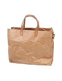 Artone Vintage Waterproof Tearproof Kraft Paper Crossbody Bag Shopping Tote Handbag with Detachable Shoulder Strap