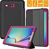 SEYMAC Samsung Galaxy Tab E 9.6 Case, Three Layer [Drop Protection] Rugged Protective Heavy Duty Case with Magnetic Trifold Stand Cover Compatible with Samsung Galaxy T560 (SM-T560/T561)(Black/Rose)
