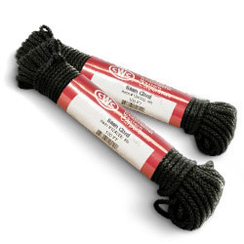 Braided Cord - Cotton Cord - Glazed Black - 1/8'' Diameter, Size #4 x 48', 175 lbs Tensile (12 Hanks) - CWC-136270