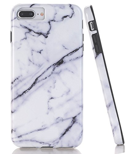 iPhone 7 Plus Case, WALAGO White Black Marble Design CaseSlim Flexible Soft Silicone Bumper Shockproof Gel TPU Rubber Glossy Skin Cover for iPhone 7 Plus & 8 Plus [5.5 ()