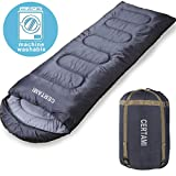 CERTAMI Sleeping Bag for Adults, Girls & Boys, Lightweight Waterproof Compact, Great for 4 Season Warm & Cold Weather, Perfect for Outdoor Backpacking, Camping, Hiking. (Dark Grey/Left Zip)