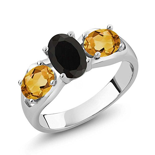 (Gem Stone King 1.60 Ct Oval Black Onyx Yellow Citrine 925 Sterling Silver Ring (Size)