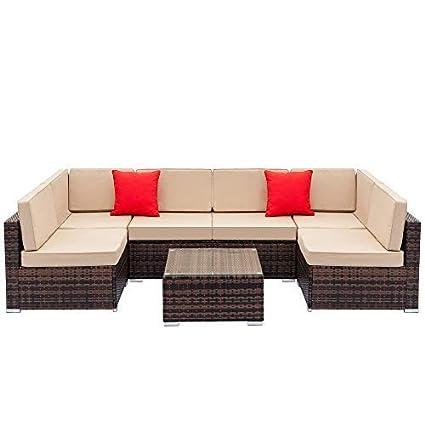 Yirind 7Pcs Fully Equipped Weaving Rattan Sofa Set with 2Pcs Corner Sofas & 4Pcs Single Sofas & 1Pcs Coffee Table (US Stock)