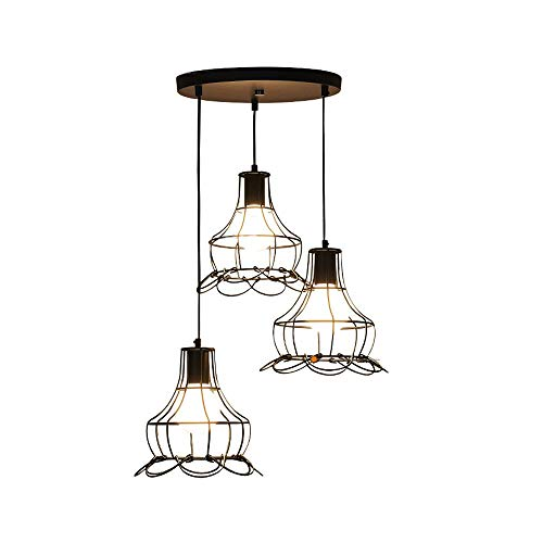 WPCBAA Modern Simple Creative Iron Petals Ceiling Light, Industrial Dining Chandelier Set - 3 Lights for Living Room Office Decorative Lighting Pendant Light, Black