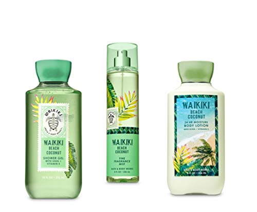 Bath and Body Works Waikiki Beach Coconut - The Daily Trio Gift Set Full Size - Shower Gel, Fine Fragrance Mist and Body Lotion - 2019