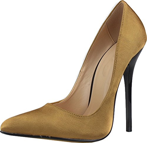 Abby A66 Womens Sexy Supper High Heeled Nightclub Party Wedding Bride Cross Gender Overside US9-18 Pointed Toe Slip On Satin Pumps Champagne l0gJA96NC