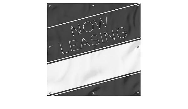 8x4 Now Leasing Basic Black Heavy-Duty Outdoor Vinyl Banner CGSignLab