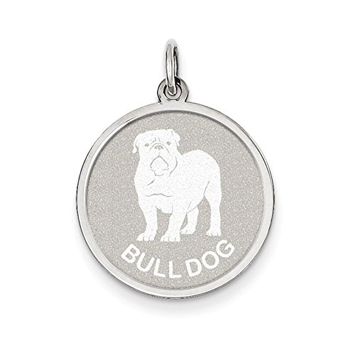 Sterling Silver Bull Dog Disc Charm (Charm Bulldog Disc)