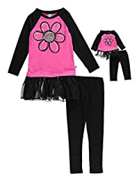 """Dollie & Me Little Girls' """"Glitter Daisy"""" 2-Piece Outfit with Doll Outfit"""