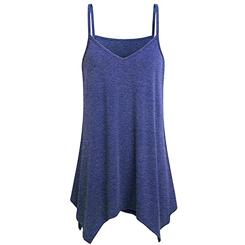 Top Handkerchief Hem - COOKI Women Tank Tops Shirts Teen Girls Handkerchief Hem Flowy T-Shirt Casual Summer Spaghetti Strap Camisoles Tank Tops Blue
