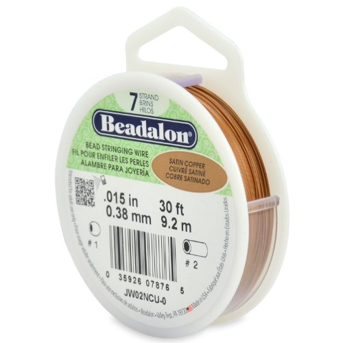 Beadalon 7-Strand Stainless Steel 0.015-Inch Bead Stringing Wire, 30-Feet, Satin Copper (Bead Copper Wire)