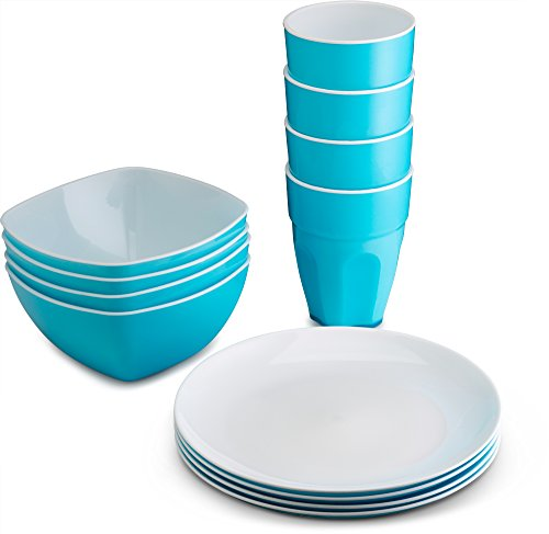 PLASTI HOME Reusable Plastic Dinnerware Set (12pcs) - Ideal for Kids. Fancy Hard Plastic Plates, Bows & Cups in Blue Colors - Microwaveable & Dishwasher Safe Flatware & Tumblers for Daily Use