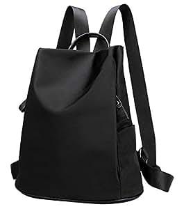 Fanspack Womens Backpack Waterproof Oxford Backpack Schoolbag Ladies Shoulder Bag Casual Daypack (Black)