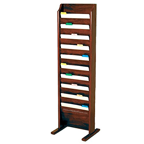 - DMD Chart and File Holder, Free Standing Floor Rack, 10 Pockets, Mahogany Oak Wood Finish