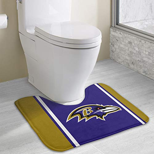 Marrytiny Custom Colourful Non Slip U-Shaped Toilet Bath Rug Baltimore Ravens Football Team Anti-Bacterial Floor Contour Doormat Shower Mat Bathroom Carpet 19.3 x 15.7 Inches