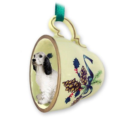 English Setter Belton Blue Tea Cup Green Holiday Ornament