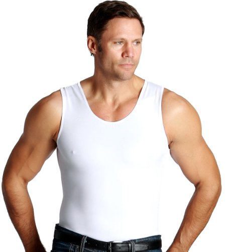 Insta Slim 3 Pack Men's Compression T-Shirts, White, X-Large