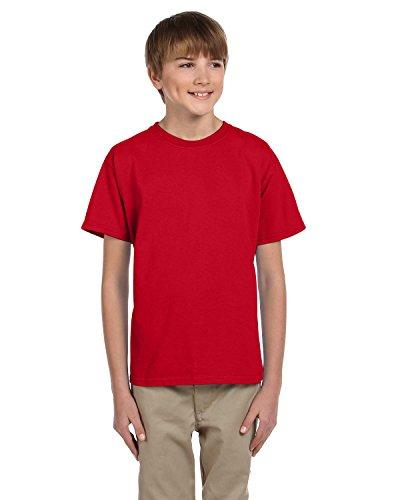 (Fruit of the Loom Boys 5 oz.Heavy Cotton HD T-Shirt (3931B) -Fiery RED -M)