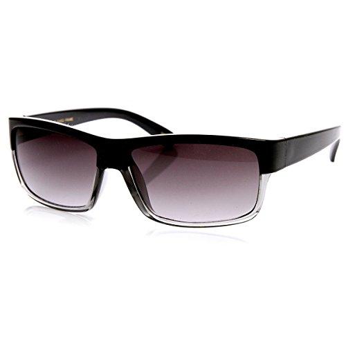 zeroUV Modern Rectangular Action Sports Sunglasses (Black-Fade)