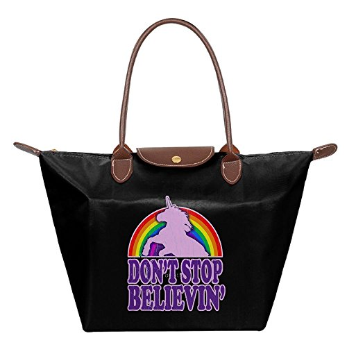 Mkajkkok Dont Stop Believe Unicorn Fashion Ladies Folding Dumpling Bags