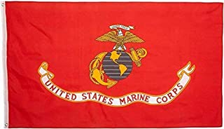 product image for Valley Forge Flag 4-Foot by 6-Foot Nylon Marine Corps Flag with Canvas Header and Grommets