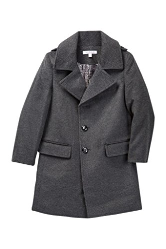 Isaac Mizrahi Boy's CT1013 Single Breasted Wool Overcoat - Charcoal - 8 by Isaac Mizrahi
