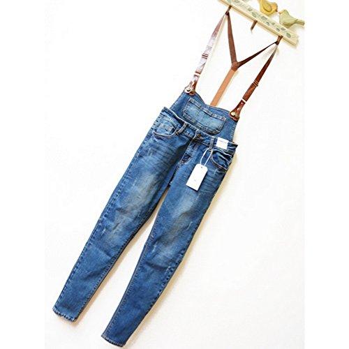 D Zroid Pu Belt Jumpsuit Denim Women Pencil Pants Girl's Jeans L Blue