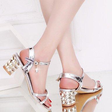 LvYuan-GGX Damen Sommer High Heels PU Frühling Sommer Damen Herbst Blockabsatz Gold Silber 2 5-4 5 cm Silber us5.5   eu36   uk3.5   cn35 daaca0