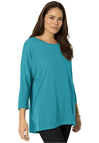 Women's Plus Size Linen-Blend Knit 3/4 Sleeve Tee Paradise Turq,1X - Linen Blend Shirt Top