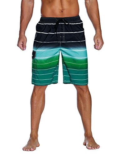 Nonwe Men's Beachwear Quick Dry Holiday Drawstring Striped Board Shorts Green 34