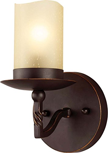 Sea Gull Lighting 4110601-191 Trempealeau One-Light Bath or Wall Sconce with Champagne Seeded Glass, Roman Bronze Finish (Bath Fixture Champagne Seeded Glass)