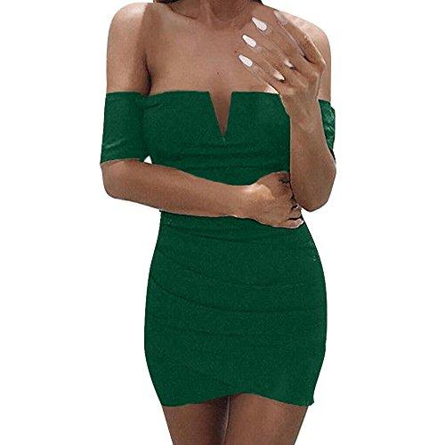 ALIKEEY La Mujer Sin Mangas con Cuello En V Vestido De Fiesta Corto Mini Venda Damas Casual Strapless Mini Vestido De Fiesta De Noche Corto. Verde
