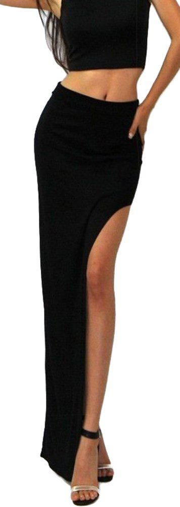 WHMAXIM Wowen's Span Solid Color Long Maxi Slit Skirt (Black) by WHMAXIM