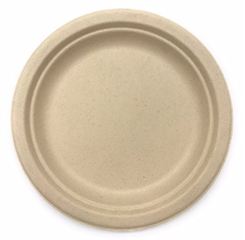 [500 COUNT] 9 in Round Disposable Plates - Natural Sugarcane Bagasse Bamboo Fibers Sturdy Nine Inch Compostable Eco Friendly Environmental Paper Plate Alternative 100% by-product Tree Plastic Free