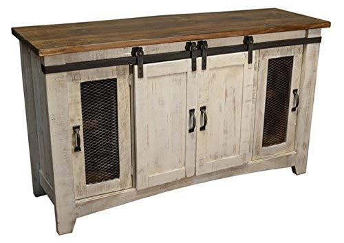 Burleson Home Furnishings Anton Distressed White Sliding Barn Door Farmhouse 60 Inch Tv Stand with Brown Wood Top and Hand Forged Custom Handles. Fully Assembled Shabby Chic Console White, 70