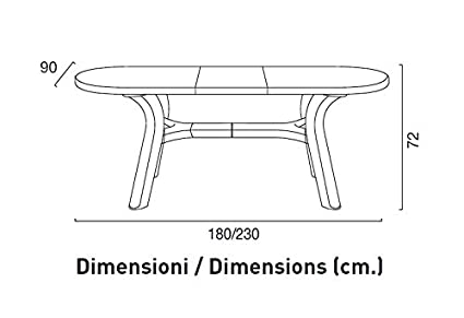 Table de jardin extensible en plastique//résine 180 - 230 cm Bianco ...