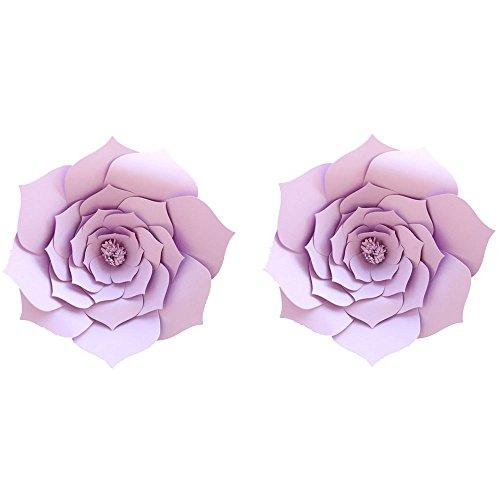 LG-Free 8 inch 2pcs Party Paper Flower Backdrop DIY Handemade Flower Wall Backdrop Decoration Wedding Rose Flower for Nursey Birthday Home Decor (2pcs, Purple)