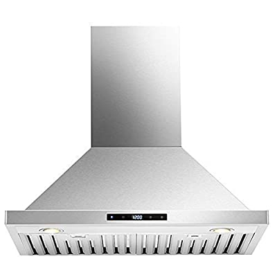 "Kitchen 30"" Wall Mounted Stainless Steel Range Hood with LED Touch Controls"