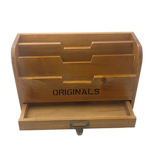 Chris-Wang 1Pk Originals Retro Wooden Stacking Letter Tray/Postcards Holder/Pencil Storage/Drawer Organizer/Desktop Mail Box/File Sorter