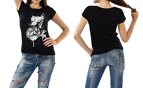 Radsport_I schwarzes modernes Damen / Frauen T-Shirt mit stylischen Aufdruck
