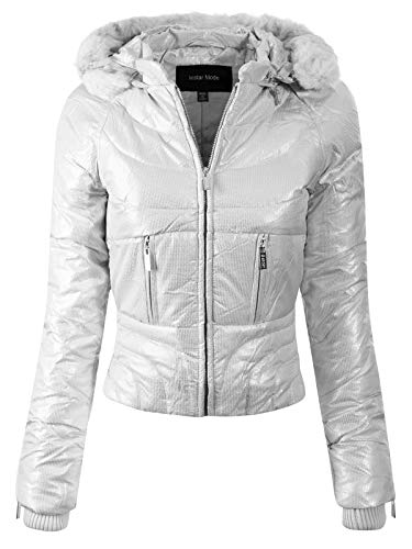 Instar Mode Women's Casual Warm Quilted Metallic Puffer Jacket with Detachable Hood Silver M