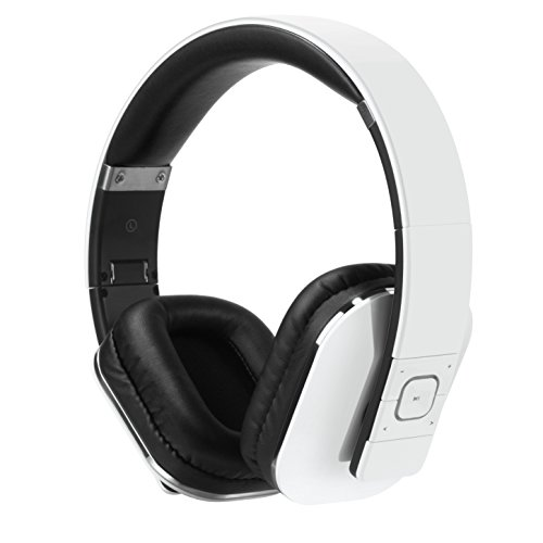 August EP650 Wireless Bluetooth Headphones - White - Android/iOS App,...