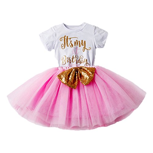 Newborn Baby Girl Princess It's My 1st/2nd Birthday Party Cake Smash Shinny Sequin Bow Tie Tulle Tutu Dress Outfit]()