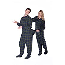 Navy Blue & Green Cotton Plaid Flannel Adult Footed Pajamas with Drop Seat