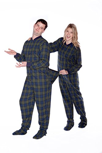 Navy/green Plaid (Black Watch) Flannel Adult Footed Pajamas w/ Drop Seat - Watch Pajama Black
