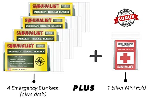 Survivalist Emergency Mylar Thermal Space Blanket (4 Pack + Bonus) Perfect for Survival, Bug Out Bag Supplies, Outdoors, Hiking and First Aid Designed for NASA and Military