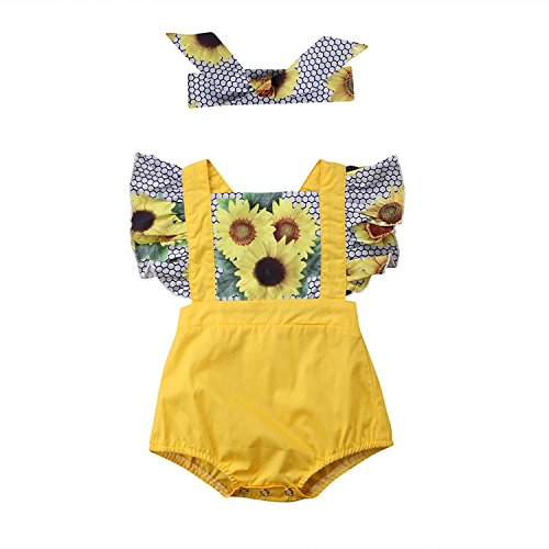 3pcs Newborn Baby Girls Floral Sunflower Ruffle Bubble Sleeve Top + Cute Yellow Rompers Shorts with Headband (Yellow, 80/6-12M)
