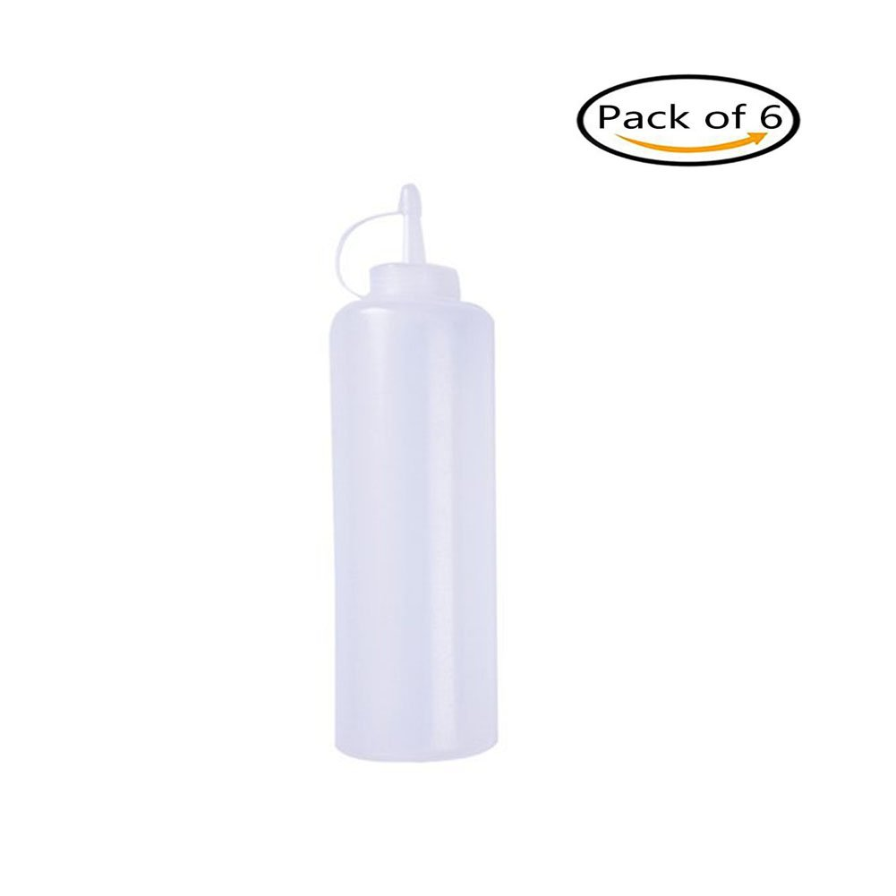 jincome Eco-Friendly Plastic Squeeze Condiment Bottles 6-ounce with Caps for Home and Restaurant,Perfect For Ketchup,Condiments,Mustard,Dressing,Arts and Craft, Workshop,Storage,BBQ and More Set of 6
