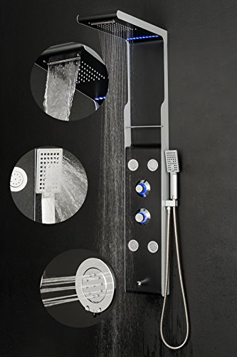 """Golden Vantage 52"""" Rainfall Waterfall Black Stainless Steel Bathroom Shower Panel System w/ Tub Spout & Multi-Function Handheld Wand"""